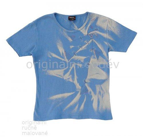 SLEVA: Malované tričko dámské - rostlina? - modré