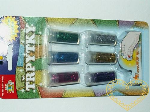 Barevné třpytky na blistru - glitry - sada 6 kusů