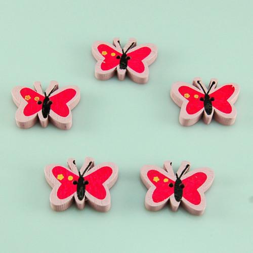 dřevěný knoflík motýl světle růžový - 5ks