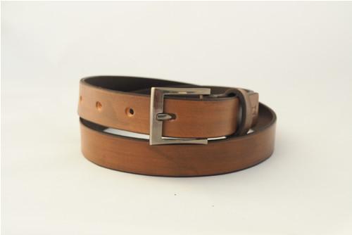 Kožený pásek 2,8 cm- hnědá st.vzhled-SKLADEM