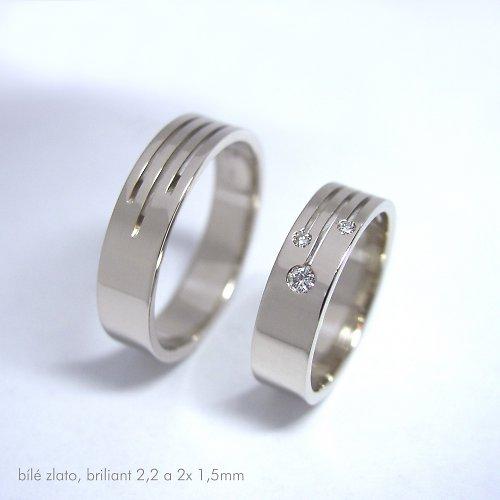 minimalistické snubní prsteny, bílé zlato