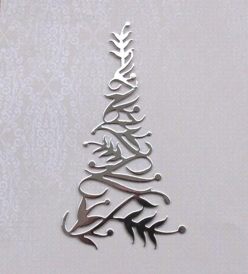 Vysoký stromeček stužkový (stříbrný lesklý)