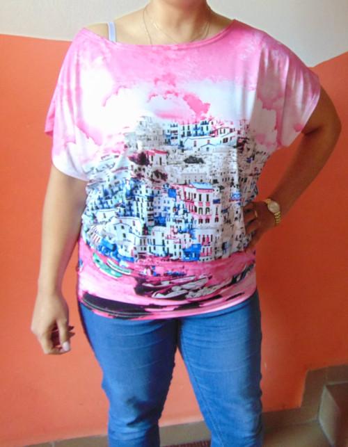 tunika-Přístav-spadlé rameno-růžová