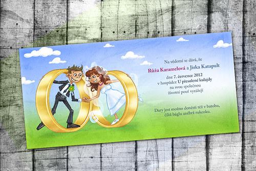 Svatební oznámení Prstýnky - 50 ks