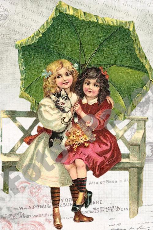 Vintage motiv - děti pod zeleným slunečníkem