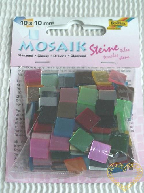 Lesklá mozaika - mix barev - 45 g -větší čtverečky