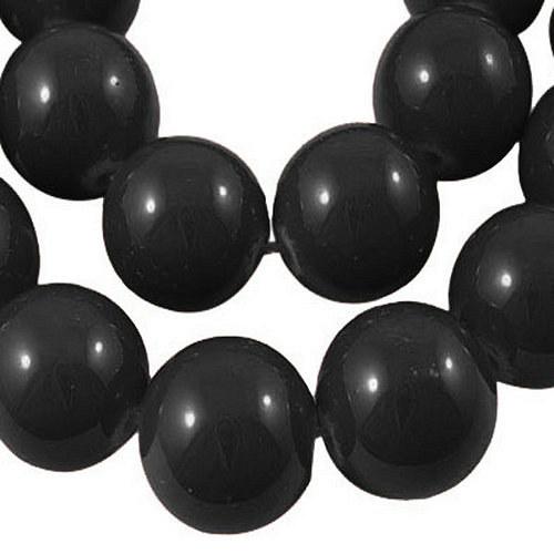skleněné korálky LESK/ černá/ 8mm/14ks