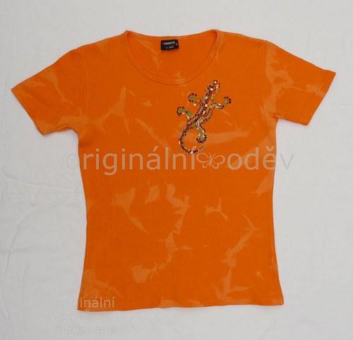 SLEVA: Malované tričko dámské- ještěrka - oranžové