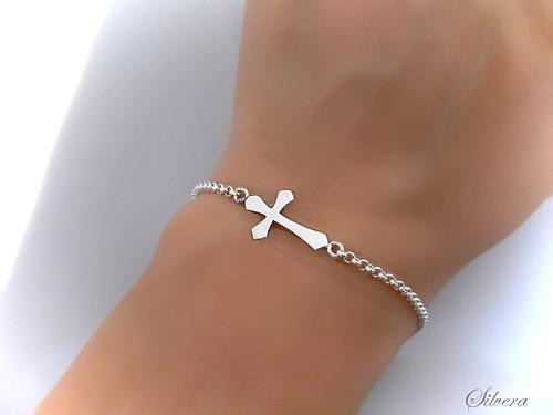 Stříbrný 925 Náramek ...s křížkem naležato.II