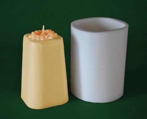 Forma na svíčky Kvadr konický s kopretinou 11cm