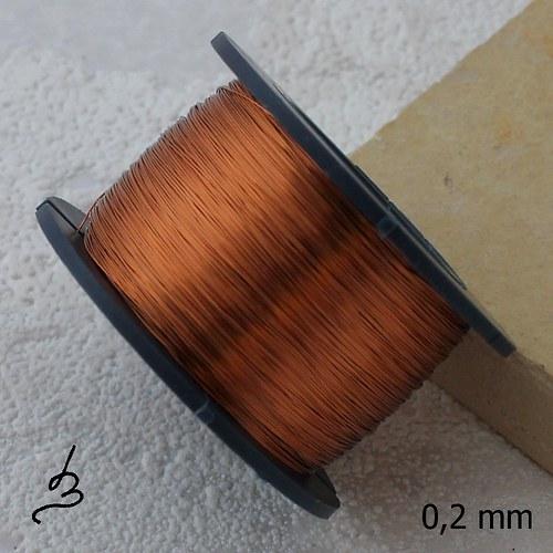 Měděný drát 0,2 mm lakovaný - 140 m