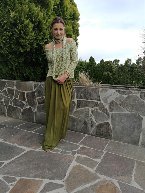 Lilien - melírované khaki šaty