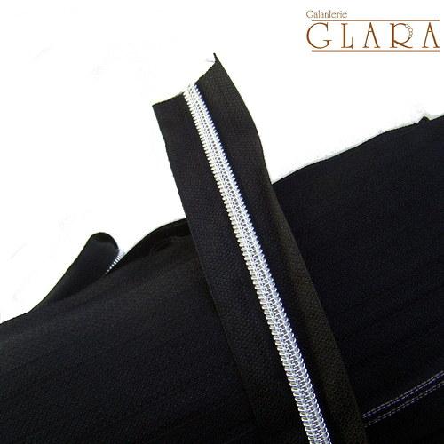 Zip v metráži / 5 mm / černo-stříbrný / 1 m