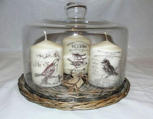Svíčky - ptáčci ve vintage stylu