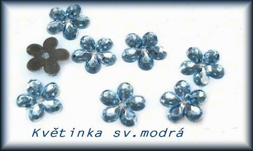 Našívací květinka - modrá - 20ks