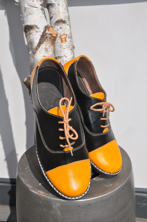 Kožené boty Chicago yellow and black