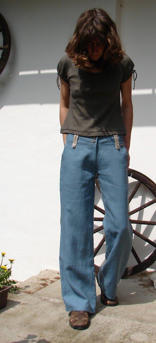 Lněné kalhoty BLUE NATURE