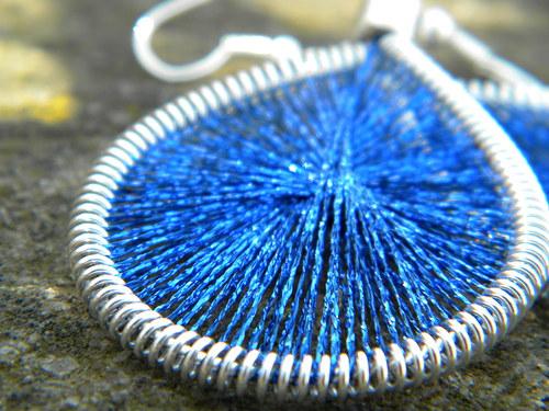 Naušnice - tmavě modré třpytky