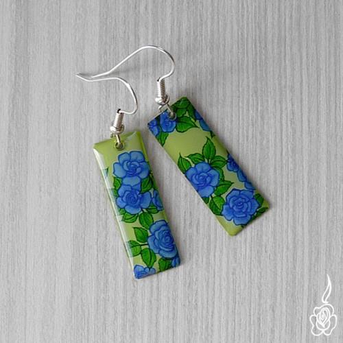 Náušnice s modrou růží