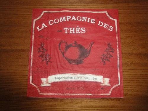 Ubrousek na decoupage - čaj v červeném