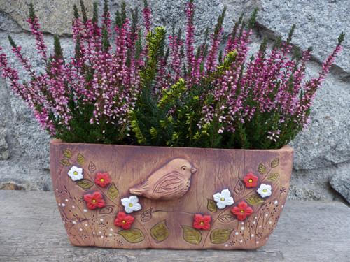 """Truhlík-OBAL 27cm  ,,Ptáček v květinách\""""2/ NA OBJ."""