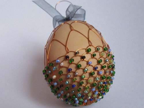 Zelenomodrý košík vajíček - drátovaná kraslice