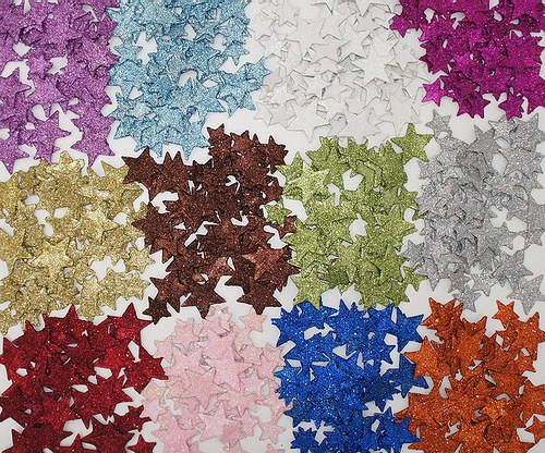 Hvězdička glitter plochá 2 ks hnědá