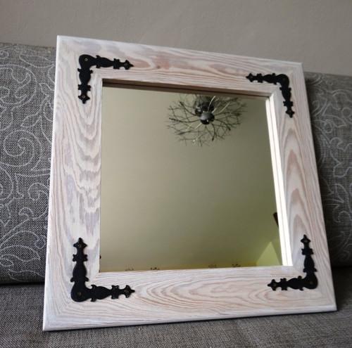 Zrcadlo malé čtvercové s kováním 036