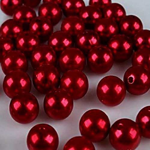 perly voskové/ červená/ 15mm/ 4ks