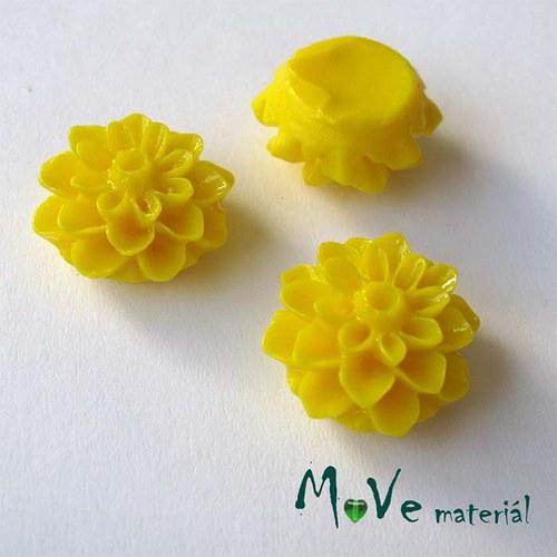 Kabošon květ lesklý A7 - resin - 2ks, tm. žlutý