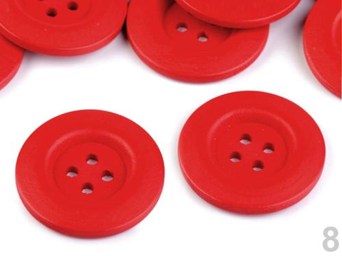 Dřevěný dekorační knoflík 4cm (2ks) - červená