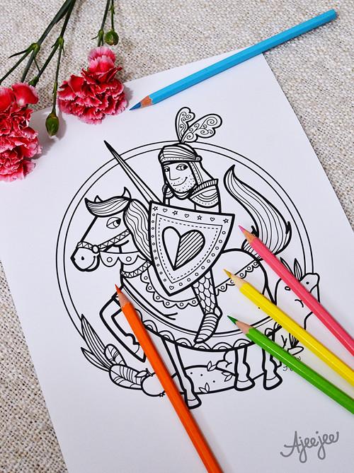 Princ Bajaja – omalovánková ilustrace (K TISKU)