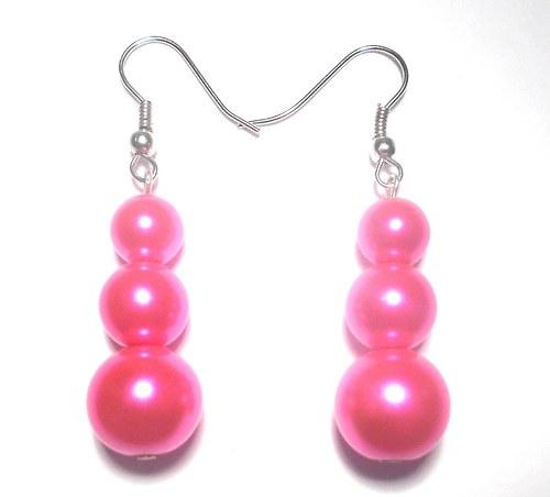Perly - naušnice růžové