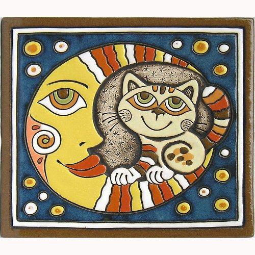 Keramický obrázek - Měsíc a kočka K-109-M-ZL