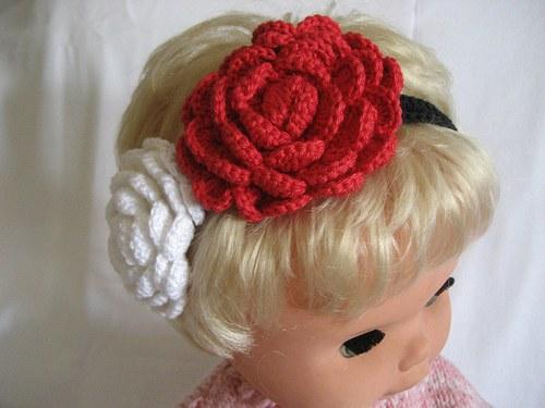 Háčkovaná čelenka s kytkami - bílá/červená/černá