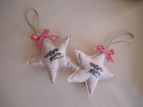 Vánoční ozdoby s andílkem - hvězda
