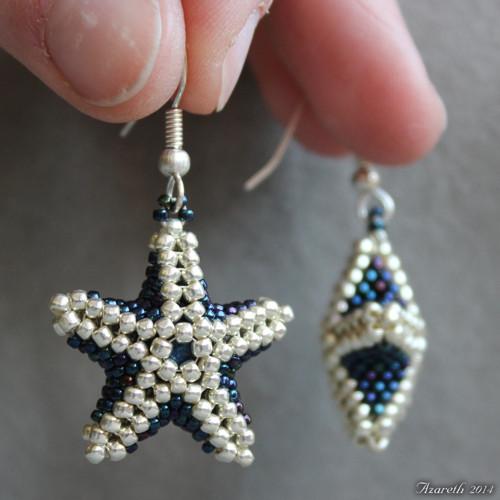 Vánoční stříbrno-modré hvězdy do oušek