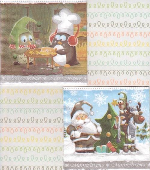 Ubrousek - vánoční tučňáčci (2 ks)