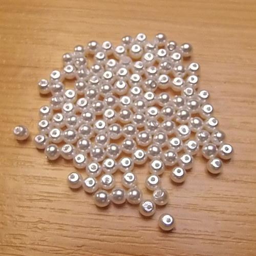 Voskované perly 3 mm -  bílé