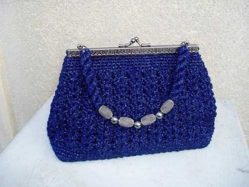 kabelka háčkovaná-modrý lesk