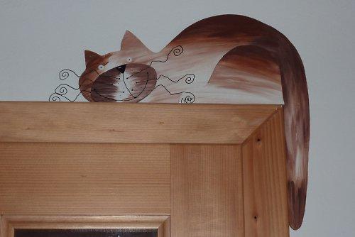 MAXI dřevěná KOČKA na dveře nebo polici