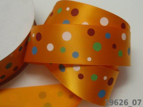 19626_07 Stuha 38mm oranž/barevné puntíky