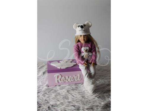 Šperkovnice s ledním medvídkem, růžová/bílá