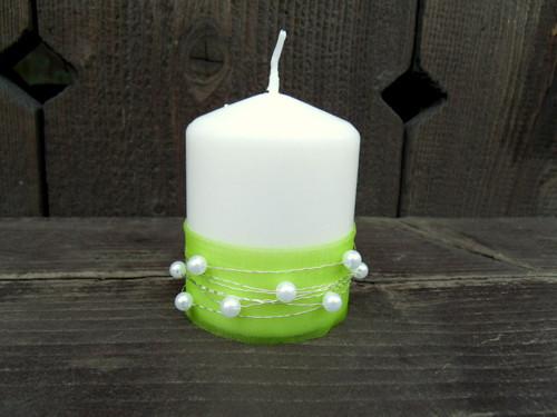 Zdobená svíčka - jarně zelená