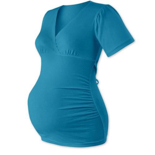 Těhotenská tunika na zavazování-  tmavý tyrkys