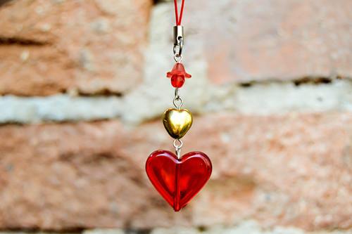 Dlouhá srdce - přívěšek na klíče...