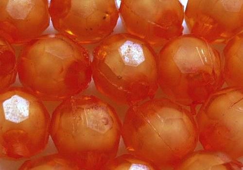 Plastové kuličky broušené 7 mm - oranžová / 10 ks