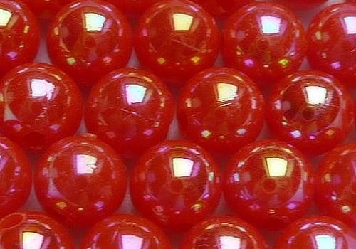 Plastové kuličky duhové 6 mm - sv. červená / 10 ks