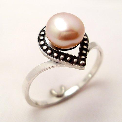 Prsten «Isida» - růžová (bílá) perla, Ag 925/1000