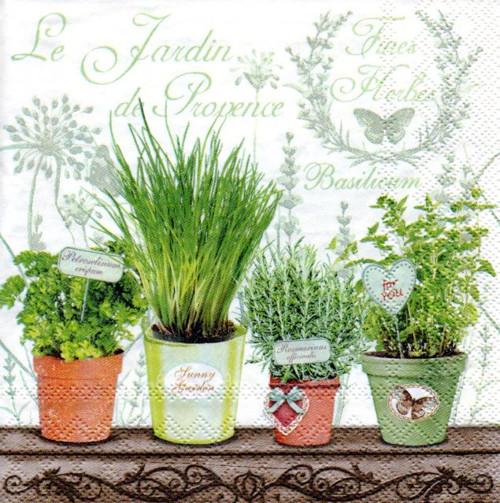 Papírový ubrousek,bylinky,květináče,vintage,2ks